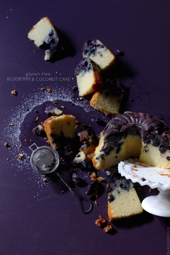 Gluten-Free Blueberry & Coconut Cake via BakersRoyale