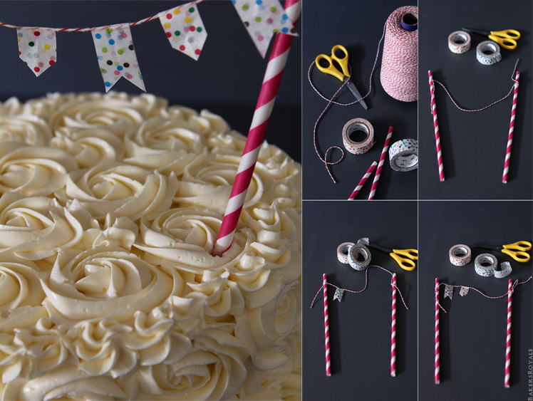 How to make an easy cake bunting via Bakers Royale