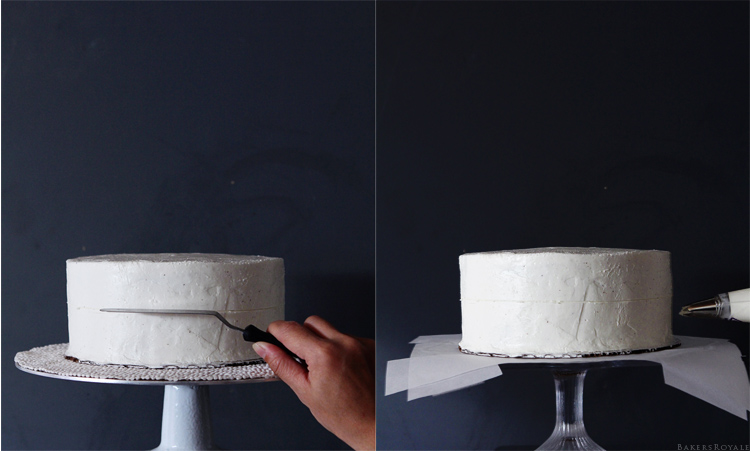 How to pipe a rose cake step 3 & 4 via Bakers Royale