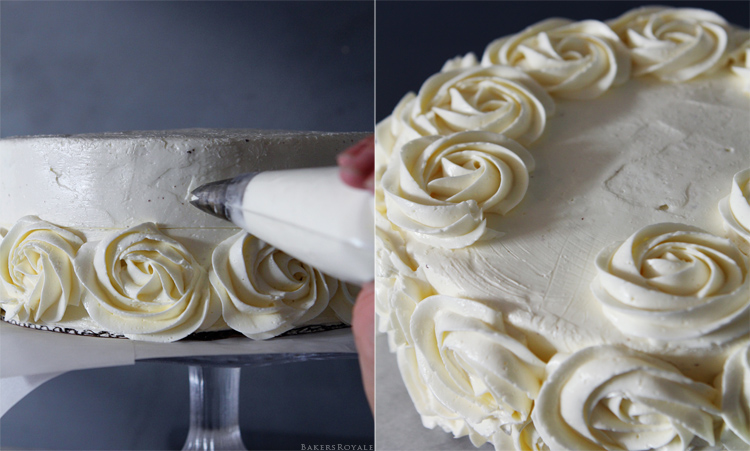 How to pipe a rose cake step 5 & 6 via Bakers Royale