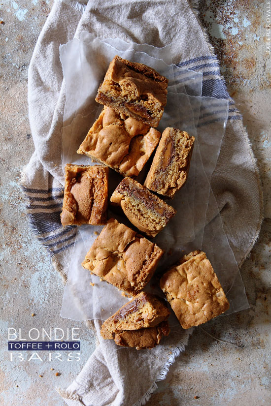 Toffee and Rolo Blondie Bars by Bakers Royale