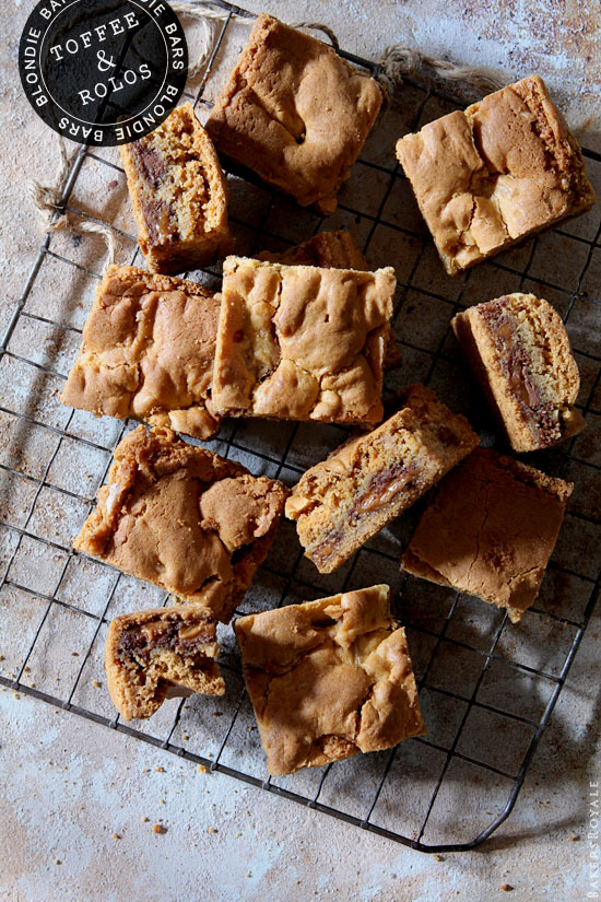 Toffee and Rolo Blondie Bars from Bakers Royale