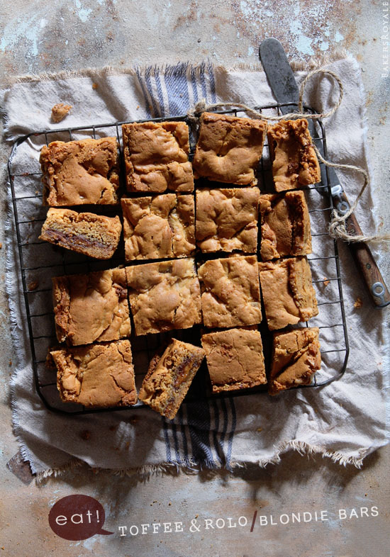 Toffee and Rolo Blondie Bars via Bakers Royale