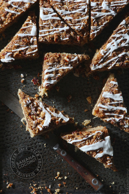 Banana Coconut Coffee Cake via Bakers Royale