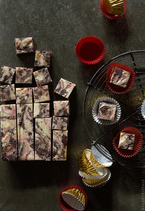 Peppermint Tuxedo Fudge by - A five minute, five ingredient fudge recipe via Bakers Royale