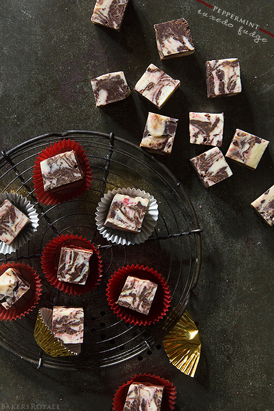 Peppermint Tuxedo Fudge by - A five minute, five ingredient fudge recipe via Bakers Royale