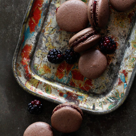 Chocolate Macarons with Blackberry Filing