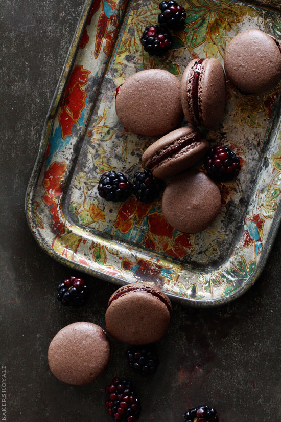 Chocolate Macarons with Blackberry Filling