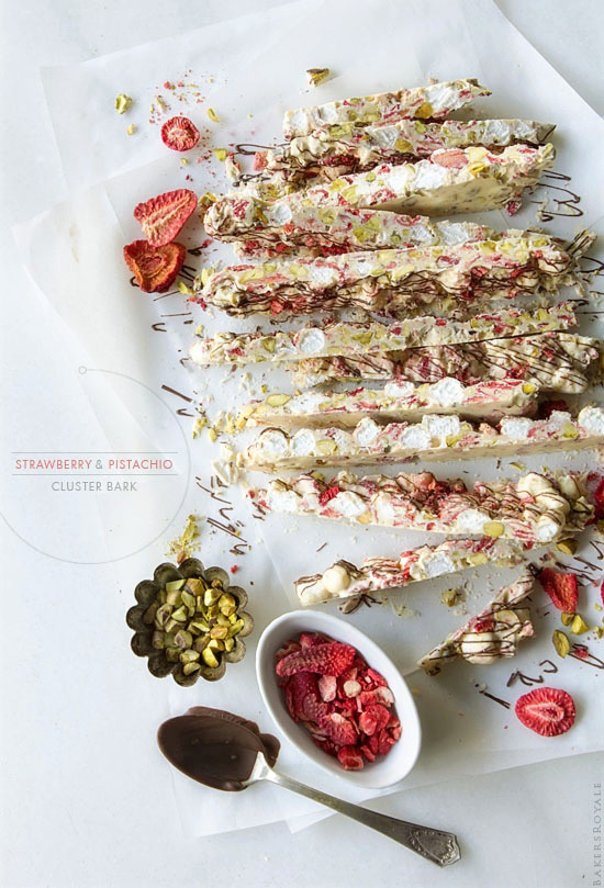 A no-bake four ingredient dessert: Strawberry & Pistachio Cluster Bark from Bakers Royale