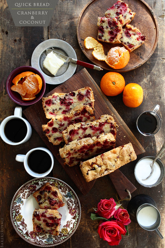 A simple quick bread that comes together in just 10 minutes: Cranberry & Coconut Bread via Bakers Royale