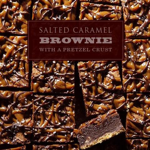 Salted Caramel Brownie with a Pretzel Crust