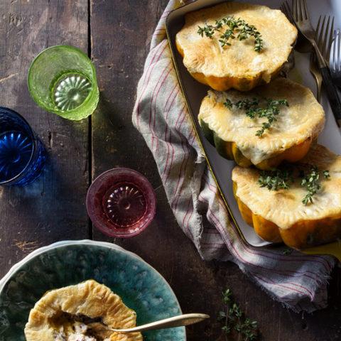 Acorn Squash Pot Pie with Wild Rice & Almond-Thyme Cream Sauce