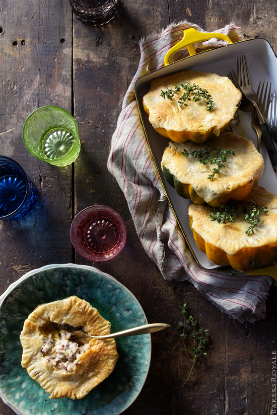 Acorn Squash Pot Pie with Wild Rice and Almond-Thyme Cream Sauce via Bakers Royale