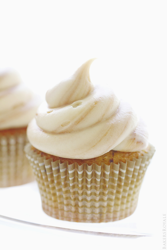 Banana Chocolate Chip Cupcakes with a Fluffy Marble Cream Cheese Frosting   Bakers Royale