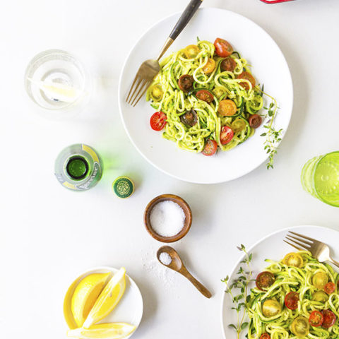 Noodled Zuchinni with Pistachio Pesto
