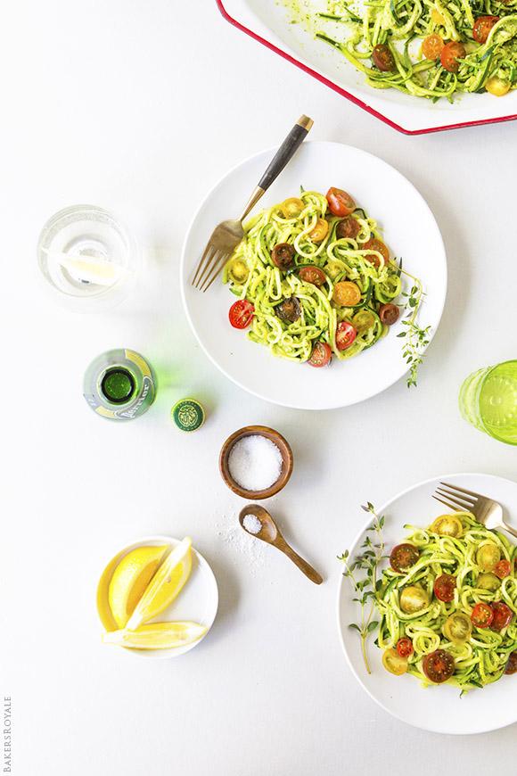"""""""Spaghetti'd"""" Zucchini with Arugula and Pistachio Pesto"""