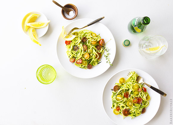 Noodled Zuchinni with Pistachio Pesto | BakersRoyale