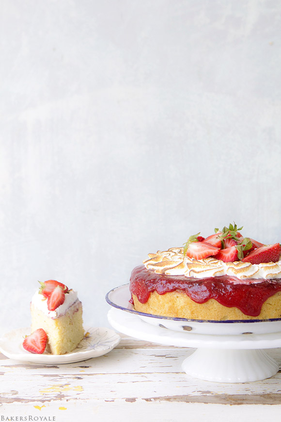 Upside Down Strawberry Cake via Bakers Royale