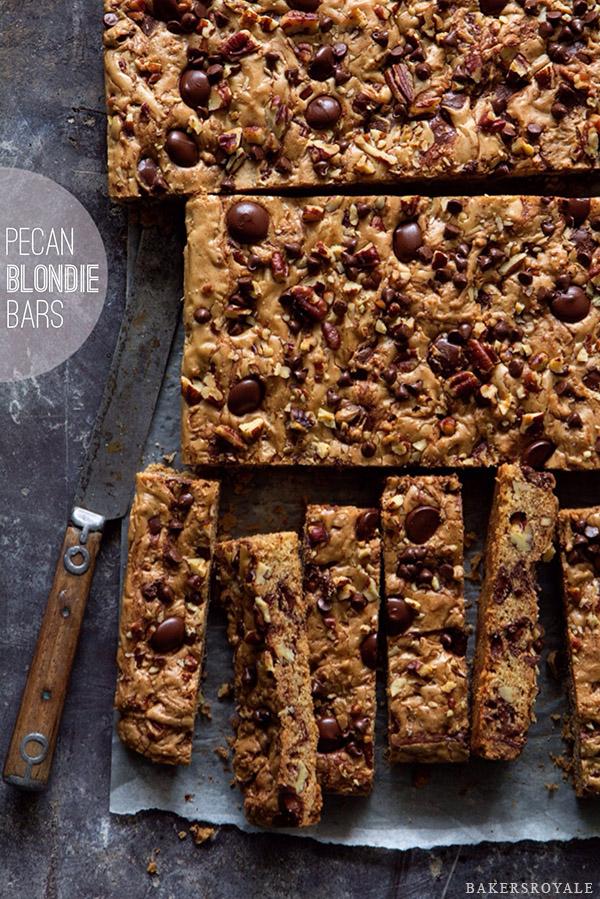 Pecan Blondie Bars via Bakers Royale
