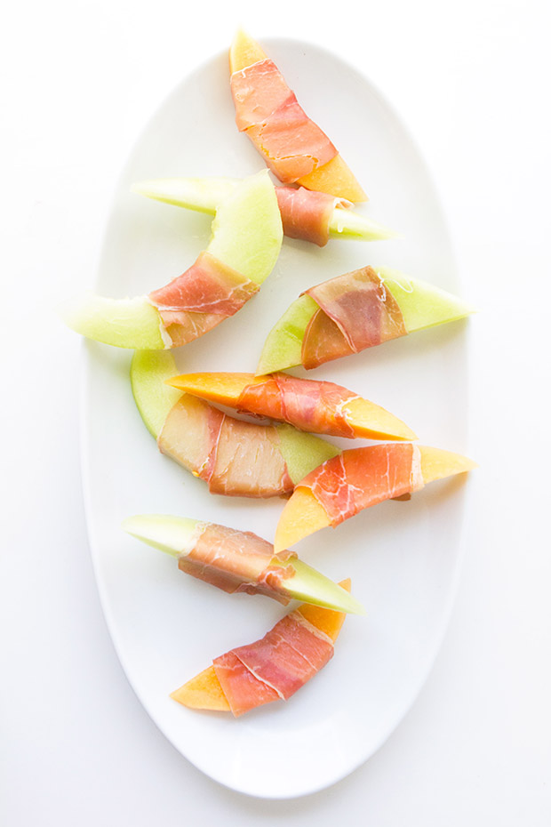 Prosciutto Wrapped Melons with Bakers Royale