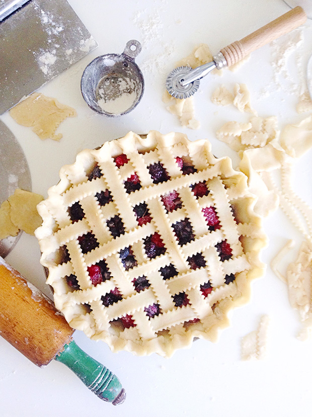 Mixed Berry Pie Lattice Top Process Shot via Bakers Royale