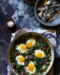 Spinach Mushrooms and Leeks via Baked Eggs via Bakers Royale 210x260