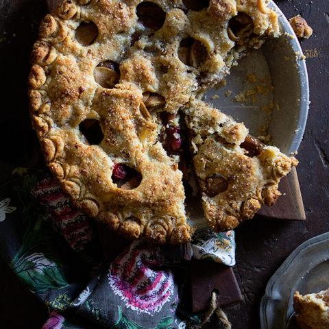 Pear and Cranberry Pecan Crusted Pie