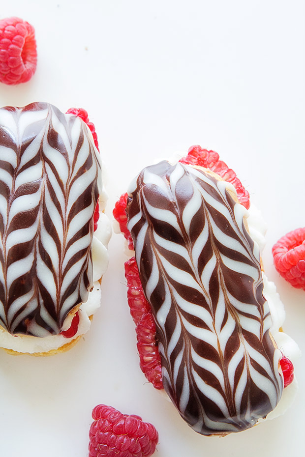 Raspberry Eclairs with Bakers Royale