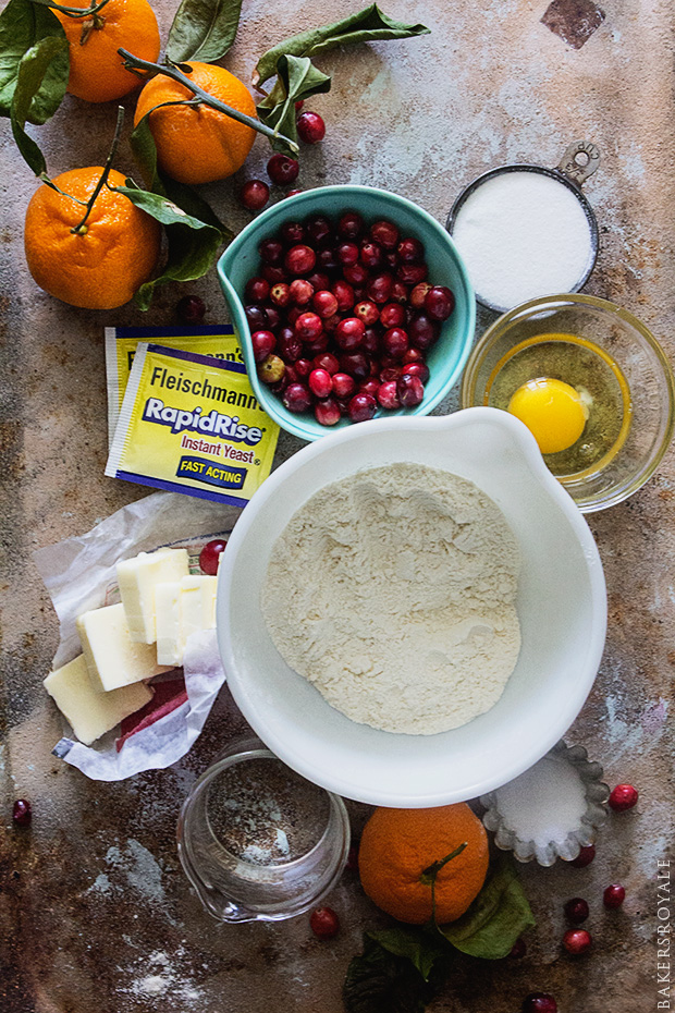 Cranberry and Citrus Cinnamon Rolls Ingredients via Bakers Royale