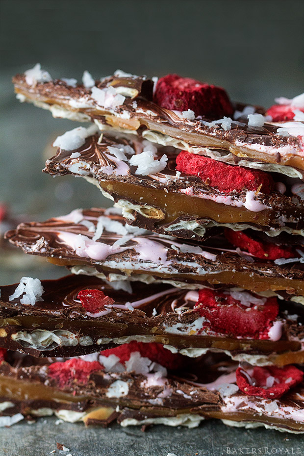 Chocolate Caramel Matzo Bark with Strawberries and Coconut via Bakers Royale