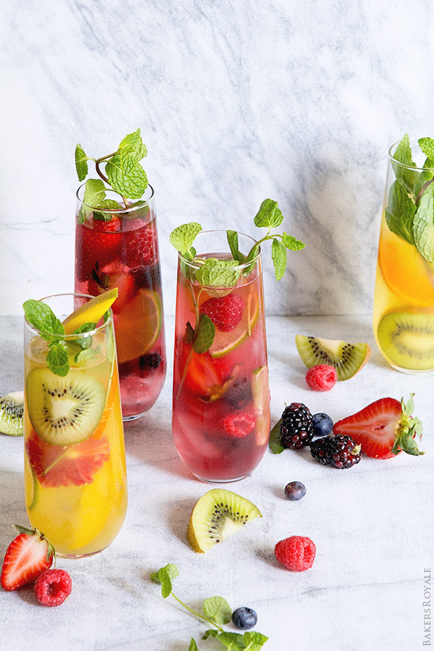Tropical Fruit Punch And Mixed Berry Mojitos Bakers Royale
