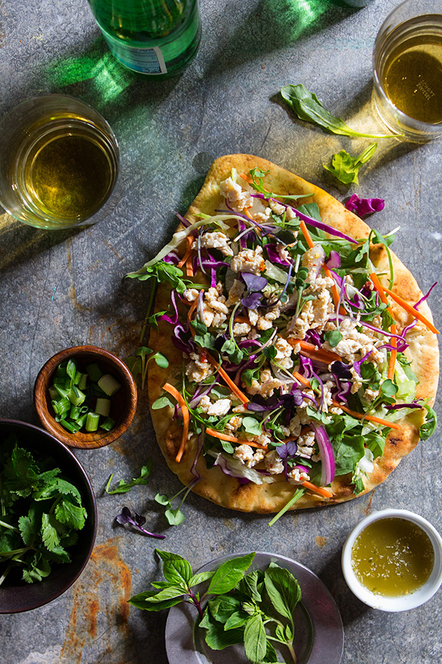 Larb Chicken Flatbread via Bakers Royale