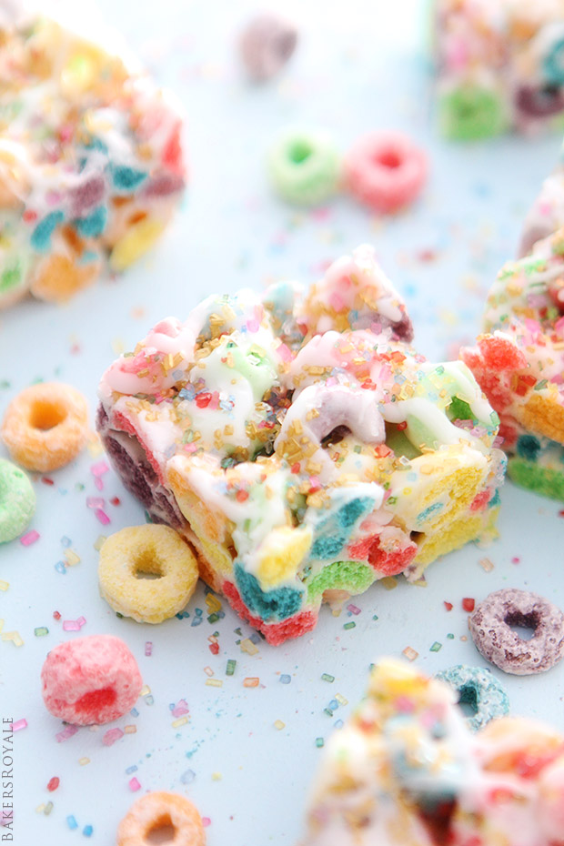 Cereal Marshmallow Bars via Bakers Royale