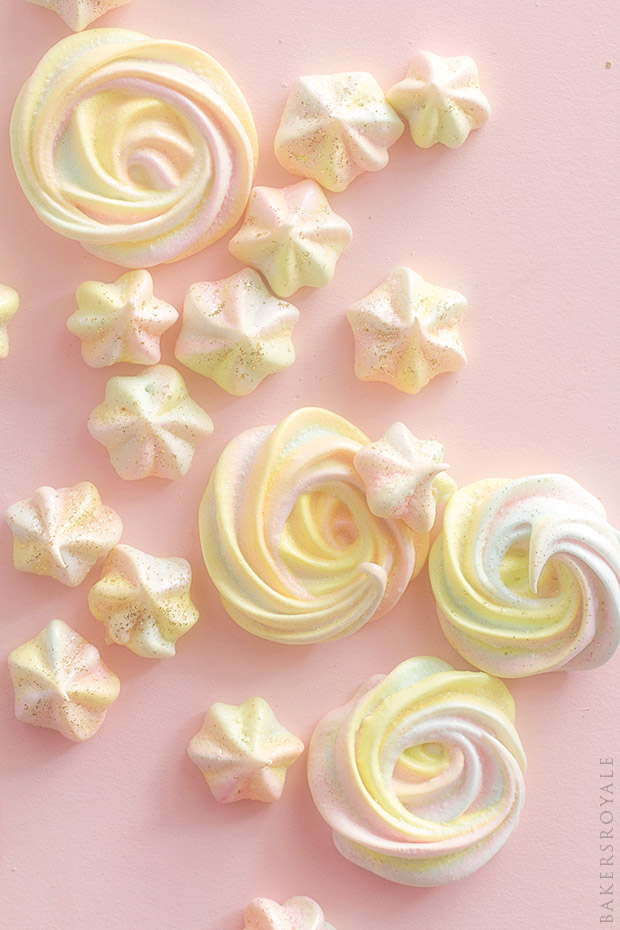Rainbow Meringue Kisses via Bakers Royale