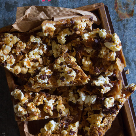 Graham Cracker and Popcorn Toffee Bars