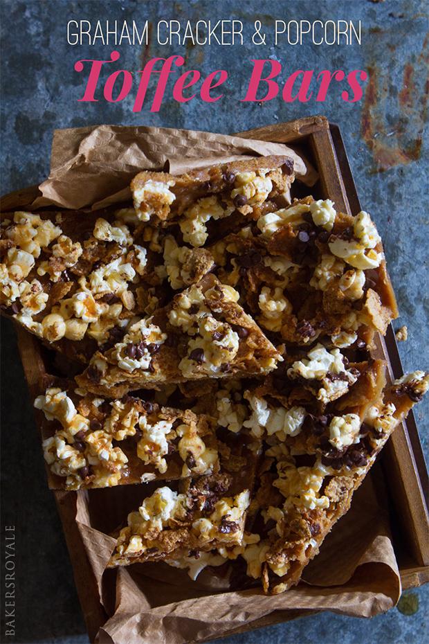Graham Cracker & Popcorn Toffee Bars
