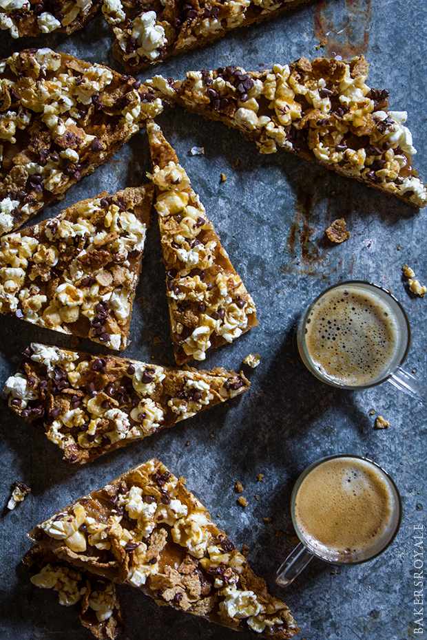 Graham Cracker and Popcorn Toffee Bars _ Bakers Royale