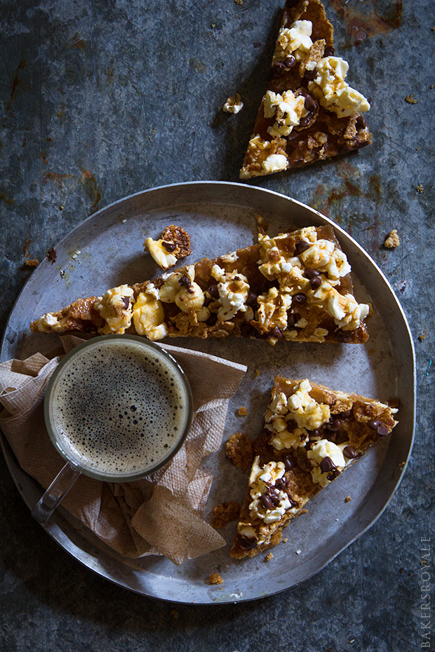 Graham Cracker and Popcorn Toffee Bars via Bakers Royale