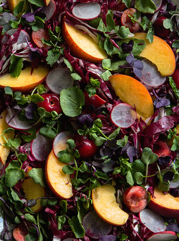 Radicchio, Peach and Cherry Salad via Bakers Royale