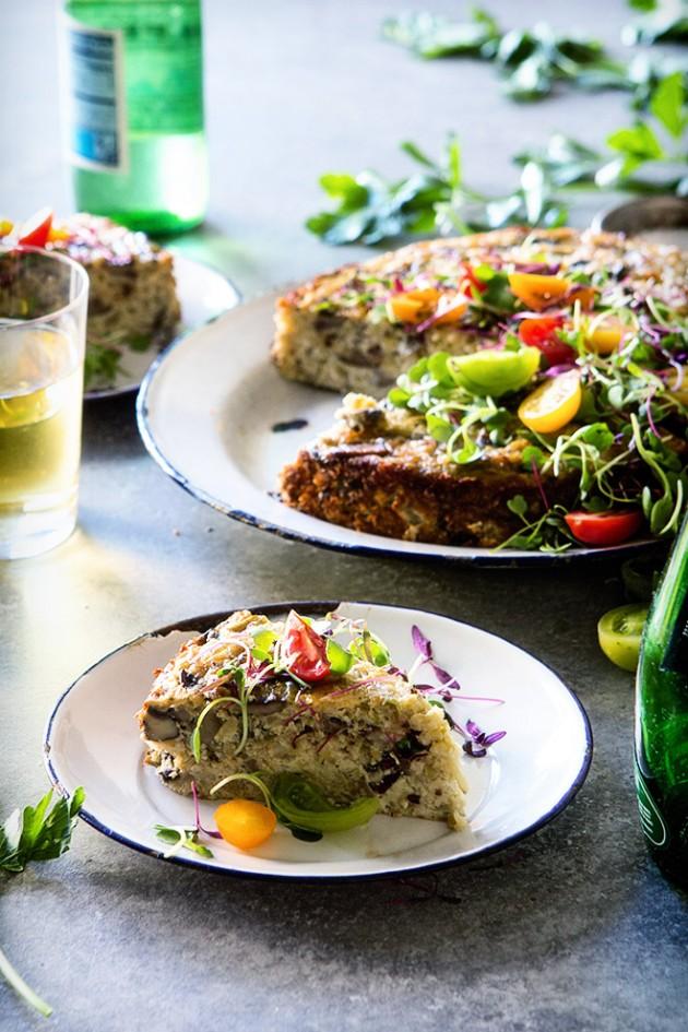 Crustless Roasted Cauliflower and Mushroom Quiche _ Bakers Royale