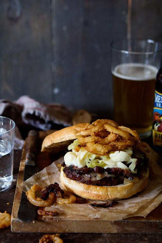 Pastrami, Smoked Mac and Cheese Burger