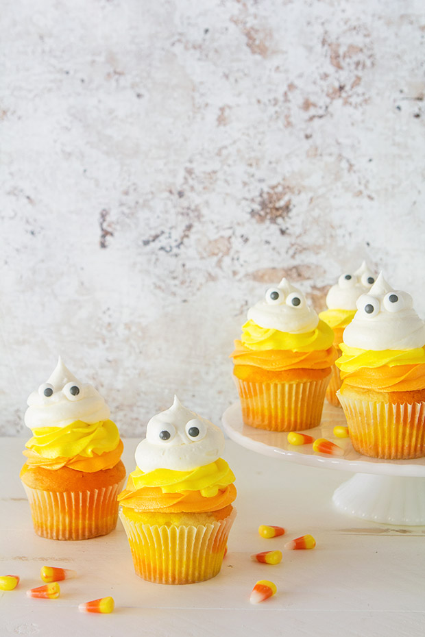 Candy Corn Ghost Cupcakes via Bakers Royale