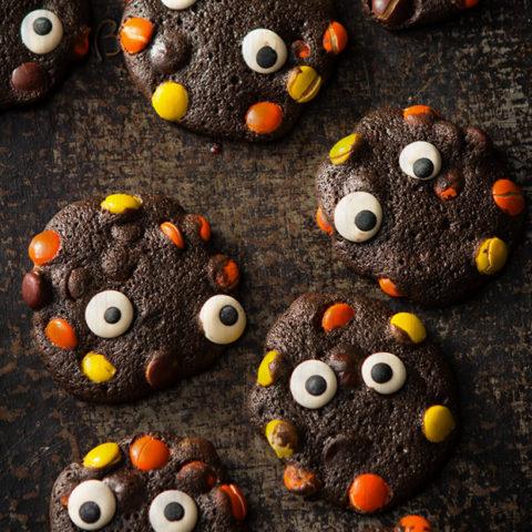 Halloween Double Chocolate Monster Cookies