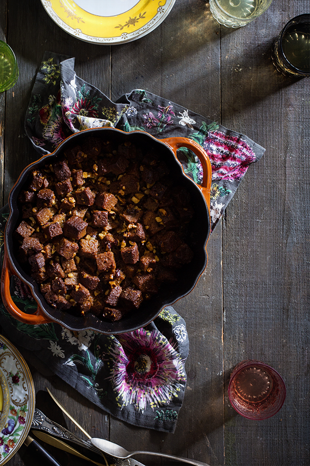 Pumpkin Bread Stuffing with Candied Bacon and Pecans