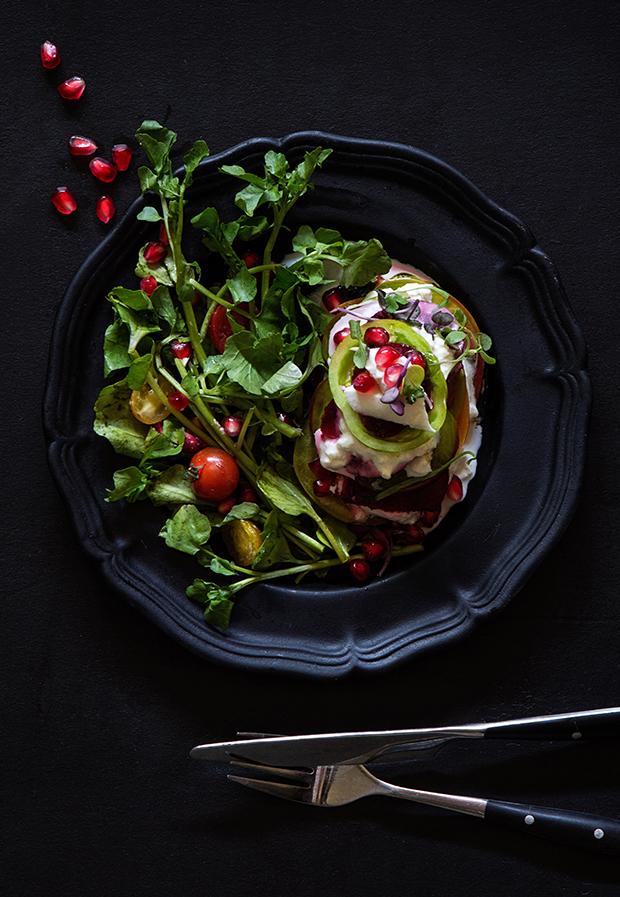 Warm Tomato and Beet Salad with Burrata