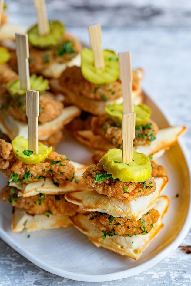 Mini Chicken and Waffles via BakersRoyale