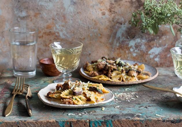 Sausage and Mushroom Pasta via Baker Royale