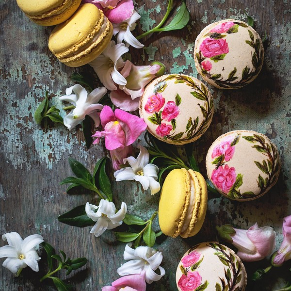 Hand Painted Earl Grey Macarons   Bakers Royale1 600x600