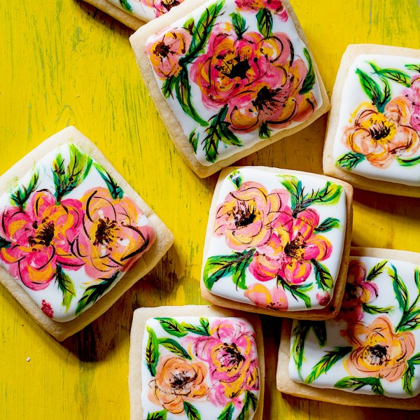 Hand Painted Flower Cookies Bakers Royale 600x600
