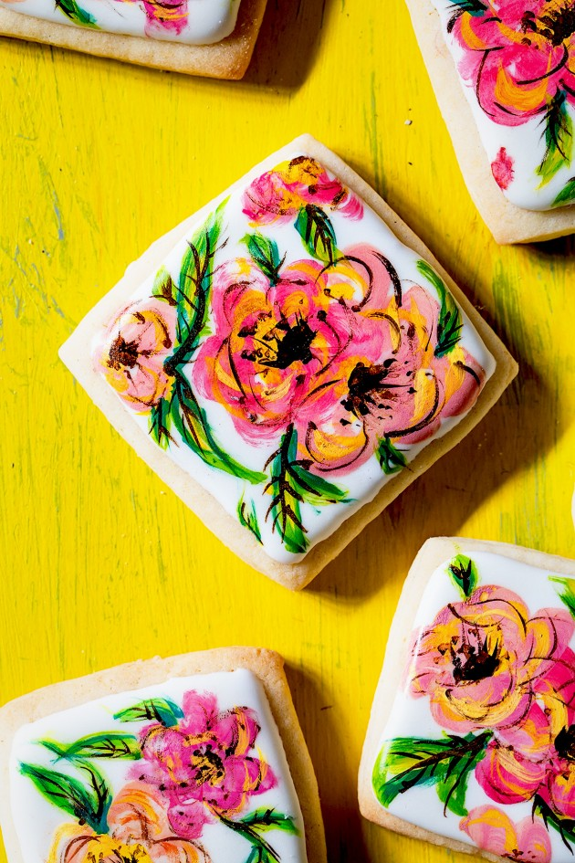 Hand Painted Flower Cookies via Bakers Royale